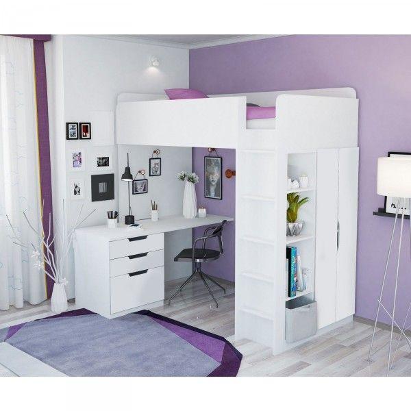 Hochbettset ATLANTA (I) mit Kleiderschrank und Schreibtisch, 6 Farben
