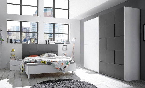 Schlafzimmer LEVANTI, 3D-Optik weiß-anthrazit