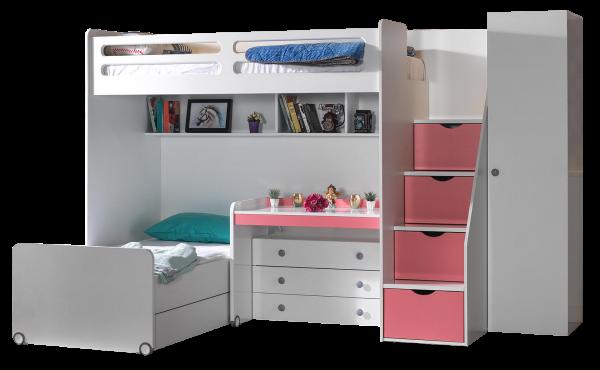Etagenbett SMART mit Schreibtisch und Kommode