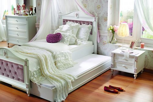 jugendbett rose mit unterbett ebay. Black Bedroom Furniture Sets. Home Design Ideas