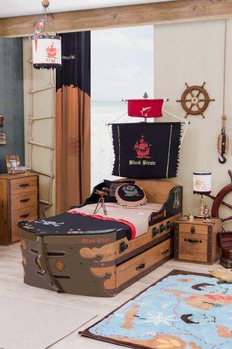 cilek black pirate piratenschiff bett 90x190 cm ebay. Black Bedroom Furniture Sets. Home Design Ideas